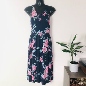 Bellamie Navy Floral Racerback Midi Dress Small